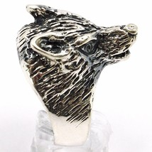 925 Silver Ring, Burnished Head of Wolf, Adjustable Size image 2