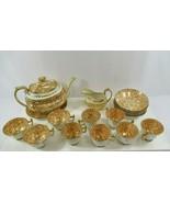 John Ridgway Tea Set 1815 Cauldon 18 Antique VTG Gold Creamer Cups Plate... - $343.45