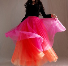 Women Tiered Tutu Skirt Hot Pink Red Tiered Tulle Skirt Party Dance Skirt Custom image 4