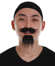 Men's Black Color Straight Thick Pirate Mustache and Beard Combo - £7.81 GBP