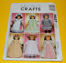 Mccalls 3627 7 18 Inch Historical Doll Clothing Pattern  - $2.00