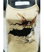 Wind Ritual Fairy Standing Hand Dyed Beige Spaghetti Strap Shirt UNWORN - $16.99