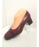 "BANDOLINO Women Size 7 Red & Black Leather Reptile/Snakeskin Pattern ""Ca... - $19.79"