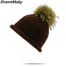 Real crimping mink and fox fur ball hat pom poms winter hat for women gi... - $14.70