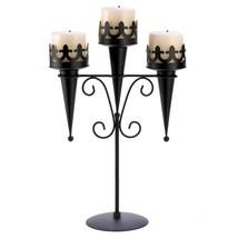 2 Medieval Gothic Triple Pillar Candle Holder Stand Set Pair Black Iron SL 14114 image 2