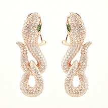 ZirconZ Art Deco Pave Signity CZ Sterling Silver Omega Panther Snake Earrings - $249.99
