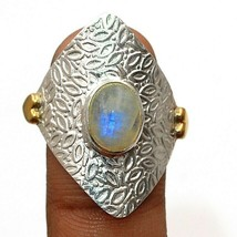 Two Tone Natural Rainbow Moonstone 925 Sterling Silver Ring Sz 8.5 EA25-6 - $31.67