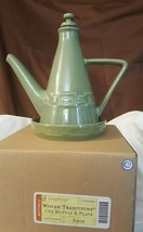 Longaberger Pottery Woven Traditions Sage Green Oil Bottle & Plate 3235860 Nib - $49.95