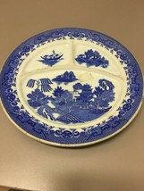 Vintage Made In Japan Blue Willow 3 Part Grill Plate Divided Restaurant China - $14.59