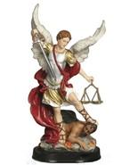 Saint Michael the Archangel 5 Inch Wooden Base Statue - $19.99