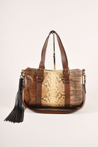 "Chloe Brown Cream ""Gabby"" Mixed Snakeskin Duffel Bag - $1,505.00"