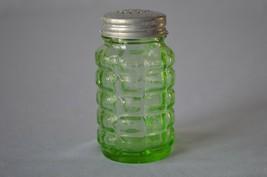 Hazel Atlas Green Waffle  Glass Salt Shaker - $9.90