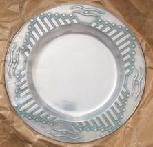 """Wilton Armetale Zia pewter 12"""" Round Tray NEW Southwest Design turquoise trim - $37.49"""