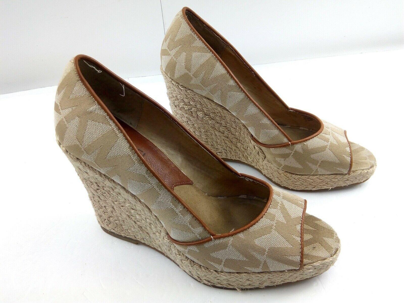 MICHAEL KORS Womens Wedges 7.5 Tan Cabana Peep Toe Platform Espadrilles $144 image 2