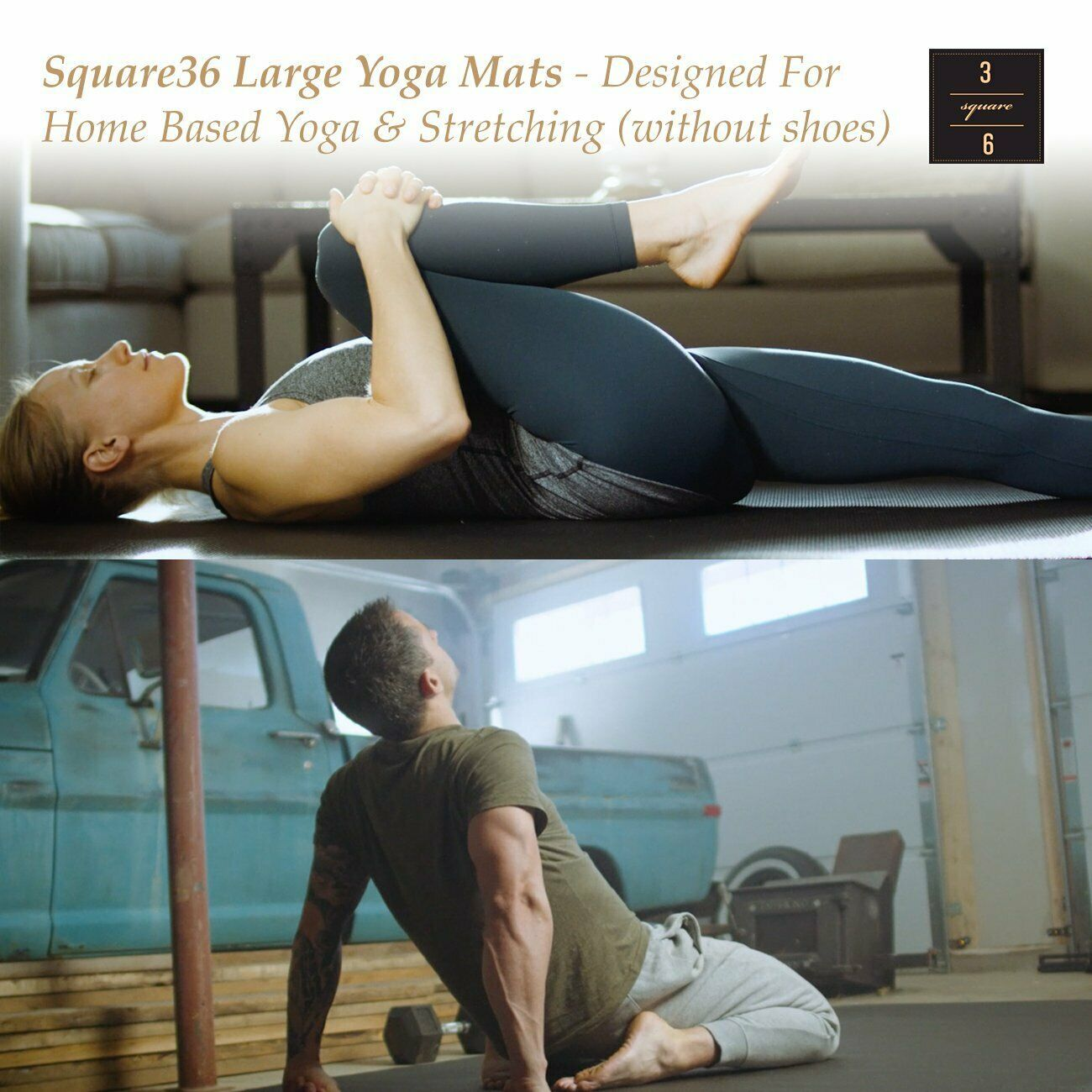 "Premium Big Yoga Large Mat 6 Ft x 4 Ft (72""x48"")."