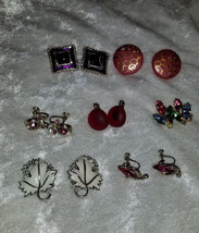 Lot of vintage clip on earrings Signed Sarah Covnetry SAC leaf rhineston... - £13.34 GBP