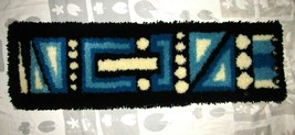 Vintage Mid Century Latch Hook Rug Abstract Wall Hanging 12x42 blue blac... - $118.74