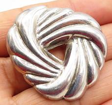 925 Sterling Silver - Vintage Minimalist Open Round Swirl Brooch Pin - B... - $49.57