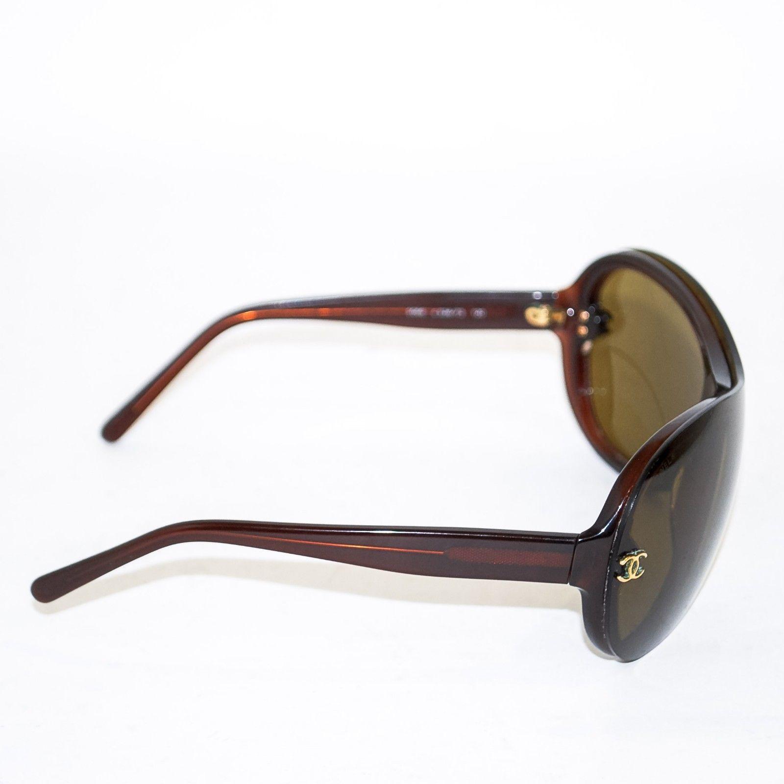 2feb5a4c46b00 CHANEL Women s c.538 73 Brown Oversized Plastic Sunglasses Eyewear with Case