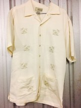 Pre-Owned Cubavera Men's Small Polyester Shirt Palm Tree Tiki Hut Front ... - $28.05