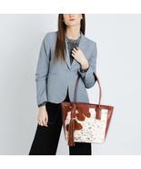 Cowhide Fur Leather Tote Brown & White Cow Skin Hair Purse Calf Shoulder... - $143.45+