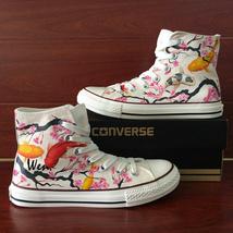Plum Blossom Fish Carp Original Design Hand Painted Shoes Canvas White Converse - $159.00