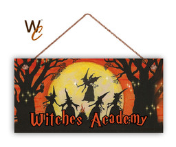 Witches Academy Sign, Halloween Night, Rustic 5x10 Spooky Door Sign - $11.39