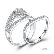 Cluster Halo Split 925 Sterling Silver Cubic Zirconia Engagement Ring Set - $54.48