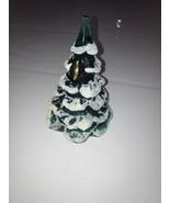 "6"" FENTON GREEN GLASS CHRISTMAS TREE  USA Rare Handmade - $121.54"