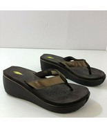 VOLATILE Gold Metallic Leather Upper Wedge Sandals 3 Inch Heel Womens Si... - $43.51