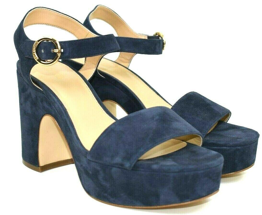 Michael Kors Women's Blue Suede Open Toe Ankle Strap Platform Heels Size 9.5 - $66.62