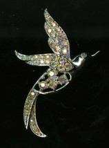 Vintage Sarah Coventry Brooch Pin Flying Dove Silver Tone Iridescent Stones - $12.95