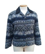 """Woolrich Wool Blue Southwest Aztec Jacket Coat Size L USA  """"Denim Stripe... - $70.13"""