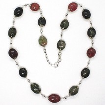 Necklace Silver 925, Tourmaline Ovals, Green and Red, Spheres Faceted image 2