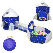 LOJETON 3pc Rocket Ship Kids Play Tent, Tunnel & Ball Pit with Basketball Hoop f