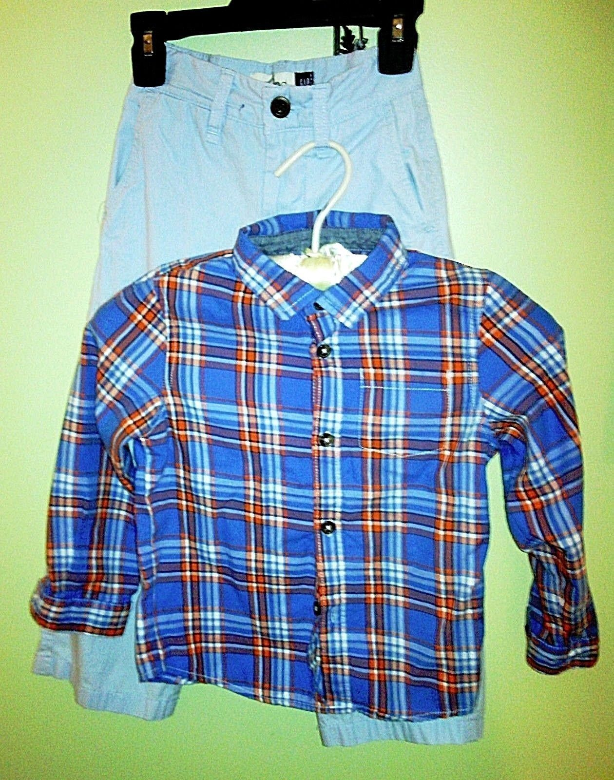 Boys/Toddler Set GAP Relaxed LT Blue Adj. Pants & Cat Jack L/S Button Shirt Blue image 8