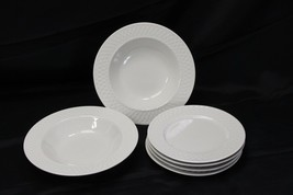 Oneida Wicker Salad Plates and Rim Soup Bowls White Lot of 6 - $48.99