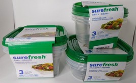 9 Pieces Surefresh Easy Seal Reusable Food Storage Containers 3 Sizes  - $14.99