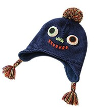 Warm Hat Knitted Hat Plus Velvet Ear Protection Hat Big Eyes Pattern