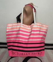Victoria's Secret White Black Orange Pink Neon Striped Canvas Beach Tote Bag - $26.72