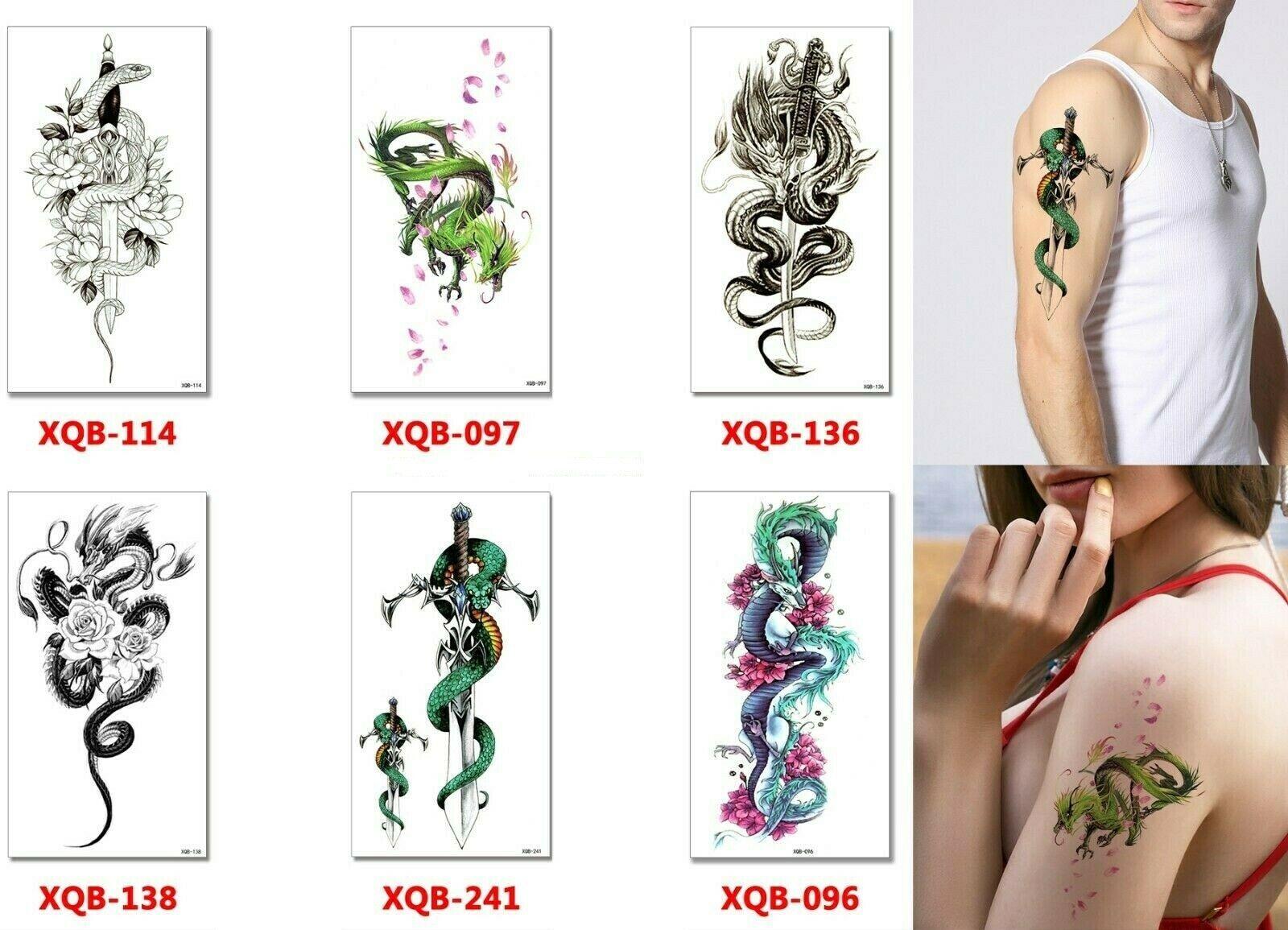 Dragon Temporary Tattoos Body Arm Sticker Half Sleeve Fake Waterproof (6 sheets)