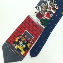 Vintage 70S WEMBLEY RED SANTA STARS NARROW Christmas Classic Necktie Tie... - $15.83