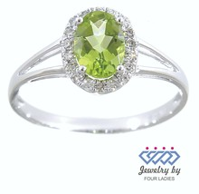 Peridot Birthstone 14K White Gold 0.50CT Real Natural Halo Diamond Ring ... - $750.42