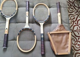 VINTAGE Wooden Guarded Tennis Racket  1960 Spalding Pancho Gonzales Signature - $114.38
