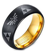 Tungsten Carbide Two Tone Legend of Zelda Ring - Black Gold Color - Pric... - $49.99