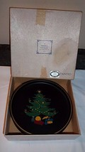 Black Metal Tole Painted Vintage NASHCO Christmas Tree Plates Set 4 Tray... - $23.71