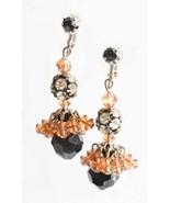 Baroque Black & Peach Cut Glass Rhinestone Chandelier Clip Earrings 1960... - $19.75