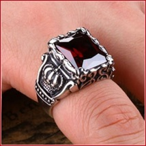 Ruby Red Emerald Cut AAAA Zircon Royal Kings Crown Mens Titainium Ring image 2