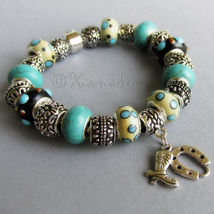 Turquoise Lucky Cowboy European Charm Bracelet With Horseshoe And Boots Charm - $76.00