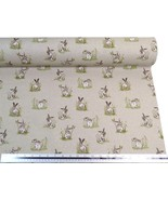 Wild Hares Rabbits Beige Linen Look High Quality Fabric Material 3 Sizes - $2.88+